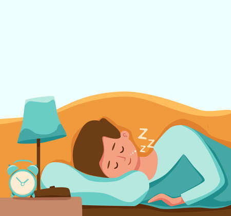 Boy kid sleep in bed at night vector illustration. Child in pajama having a sweet dream in bedroom 向量圖像