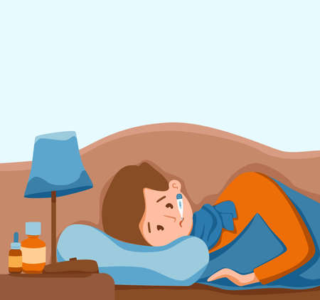 Sick child with fever with thermometer in mouth vector illustration
