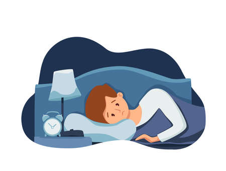 Sleepy awake man in bed suffers from insomnia. Vector illustration of tired exhausted sad guy insomniac 版權商用圖片 - 156758476