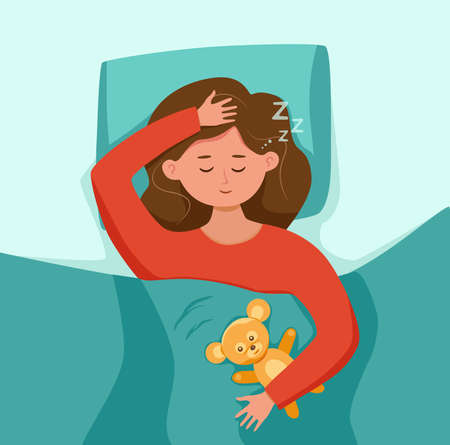 Kid sleep in bed at night vector illustration. Girl child in pajama having a sweet dream in bedroom. Healthy lifestyle concept of relax calm tired lady on pillow in bedtime graphic cartoon colorful design