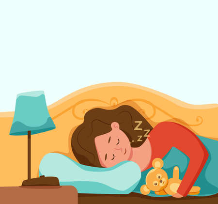 Kid sleep in bed at night vector illustration. Gir childl in pajama having a sweet dream in bedroom.