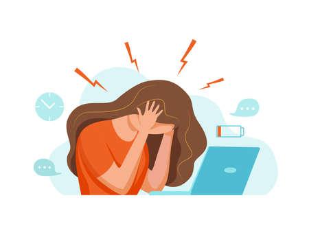Woman with headache, migraine, holding her head cartoon vector illustration