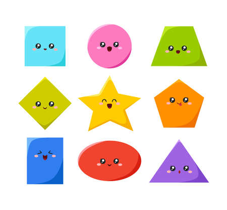 Geometric funny shapes cute kids colorful vector. 向量圖像