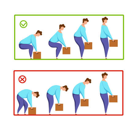 Lifting box correct and improper technique vector health care concept. Cartoon Illustration of safely right position lift heavy object. Workman carring weight spine right and wrong manually poses.