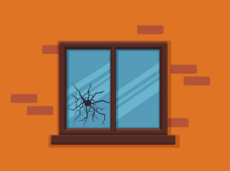 Window broken with cracked glass vector illustration. Cartoon window on brick wall building facade