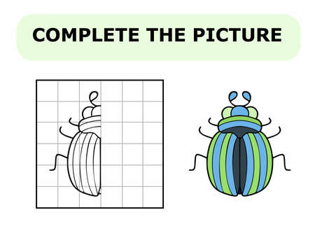 Complete the picture. Coloring book. Educational game for children. Cartoon vector illustration of cute little bug.