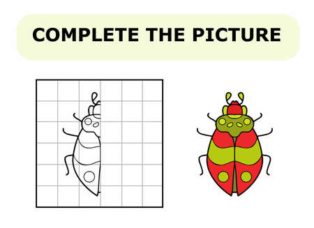 Complete the picture. Coloring book. Educational game for children. Cartoon vector illustration of cute red bug.