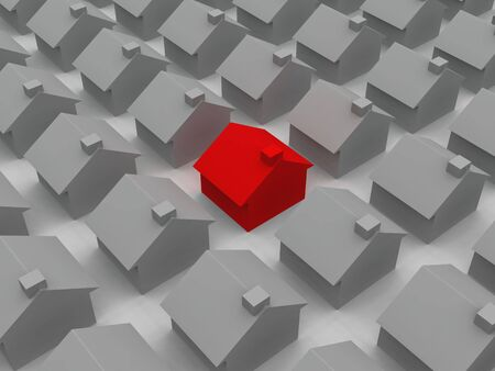 digital render of a red house among grey houses