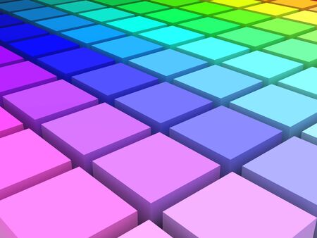 3d render of colored blocks in HLS space arranged in a grid