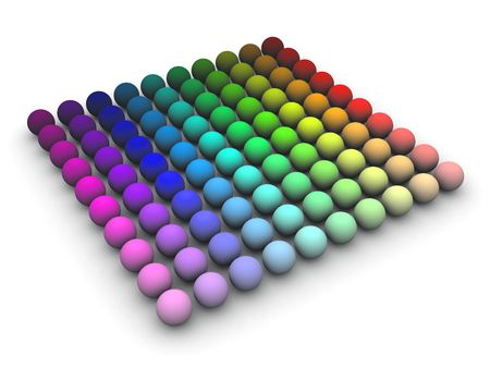 3d render of colored speheres in HLS space arranged in a grid