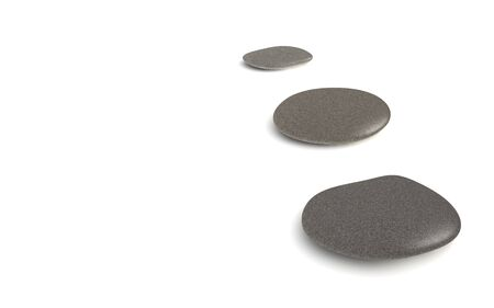 digital render of three grey pebbles isolated on white Stock Photo