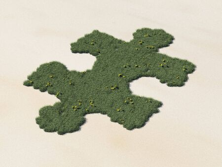 3d render of a puzzle piece shaped oasis in the desert Stock Photo