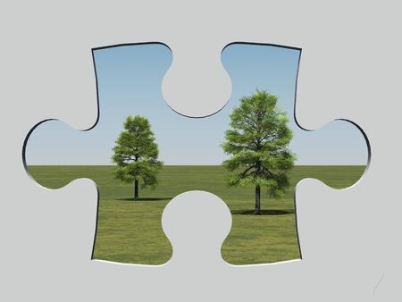 3d render of trees behind a jigsaw-shaped hole