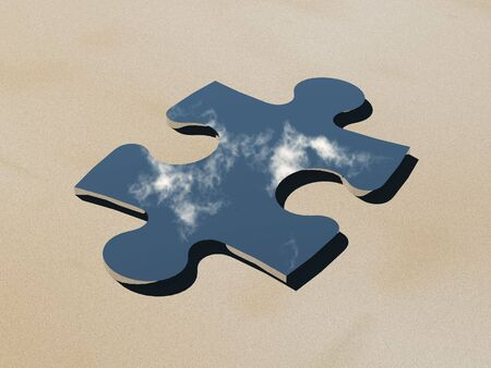 3d render of a puzzle piece shaped mirror in the desert