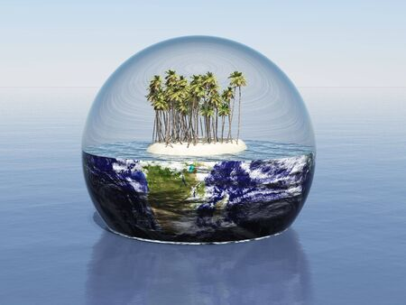 3d render of an island enclosed in a sphere around earth
