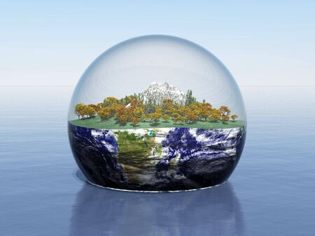 3d render of a landcsape enclosed in a sphere around earth Stock Photo