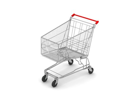 digital render of a shopping cart isolated on white Stock Photo