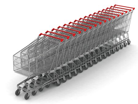 digital render of 16 shopping carts in line Stock Photo