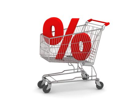 digital render of a Shopping Cart with a Percent Sign