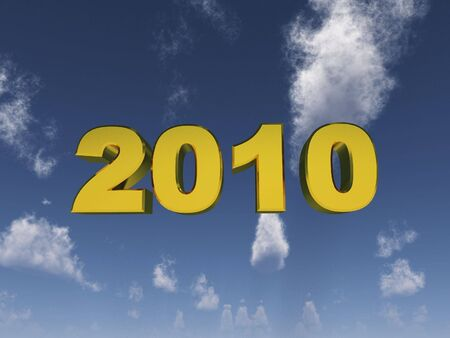 Year 2010 in gold on a cloudy sky Stock Photo