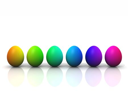 3d render of easter eggs in rainbow colors