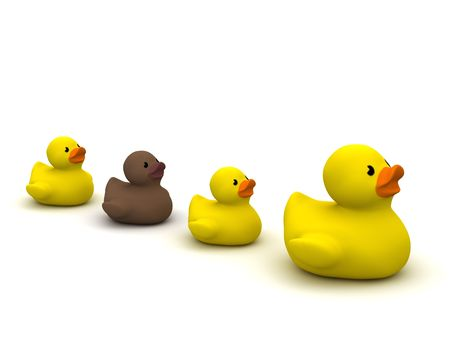 digital render of 4 rubber ducks with an ugly duckling isolated on white