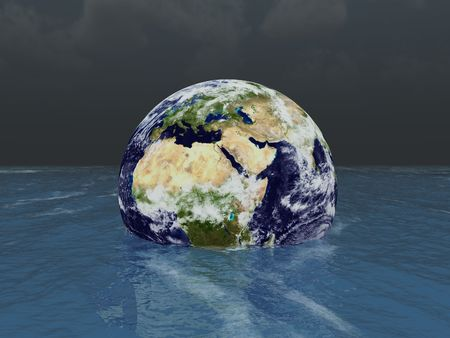 3d render of Earth sinking into the sea
