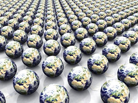 3d render of an array of Earth globes