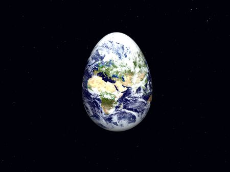 3d render of Earth shaped like an easter egg isolated on black