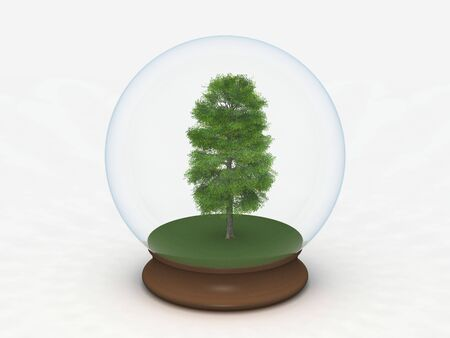 digital render of a tree in a glass sphere Stock Photo