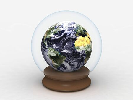 digital render of Earth, in a Glass Globe Stock Photo