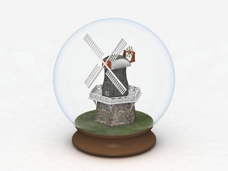 digital render of a windmill in a Glass Globe Stock Photo