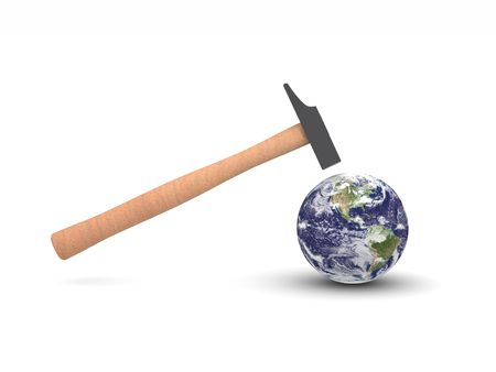 digital render of a hammer hitting Earth showing America