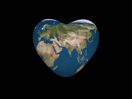 3d render of a heart shaped Earth isolated on black Stock Photo