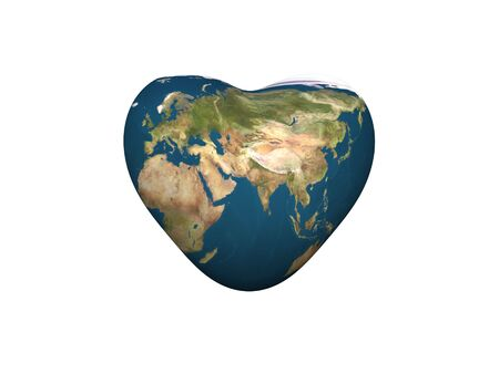 3d render of a heart shaped Earth isolated on withe