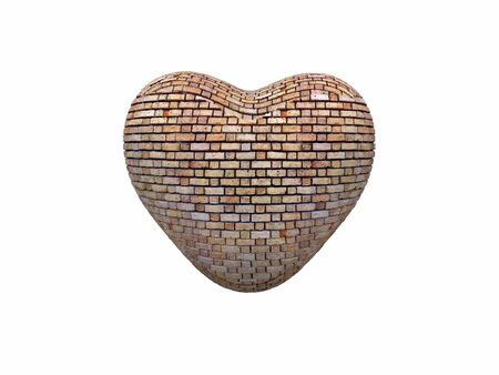3d render of a heart-shaped brick wall Stock Photo