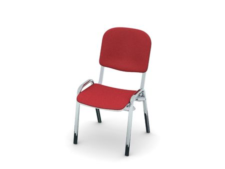 digital render of a metal chair with red fabric cushion Stock Photo