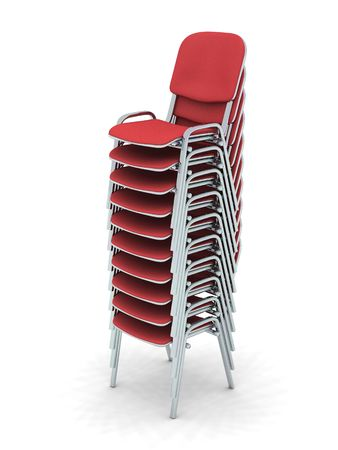 digital render of ten stacked red chairs Stock Photo