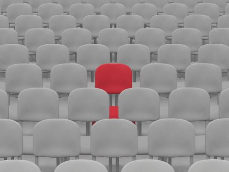 digital render of an empty auditorium of grey chairs with a single red chair Stock Photo