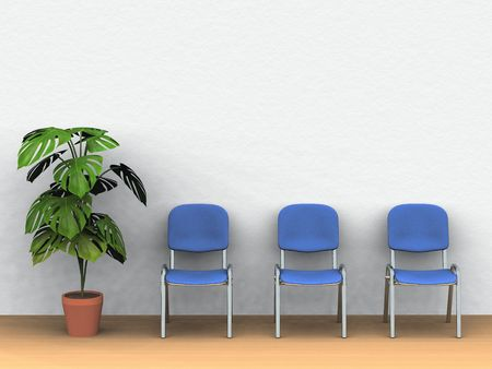 waiting room: digital render of three chairs and a plant pot in front of a white wall