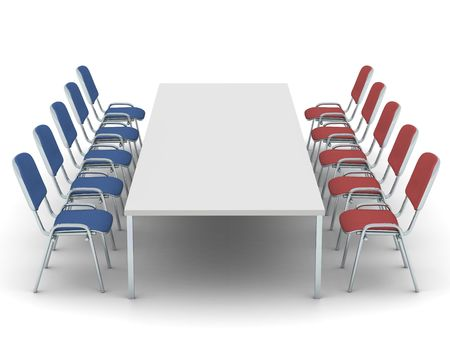 digital render of red and blue chairs in lines on two sides of a table Stock Photo
