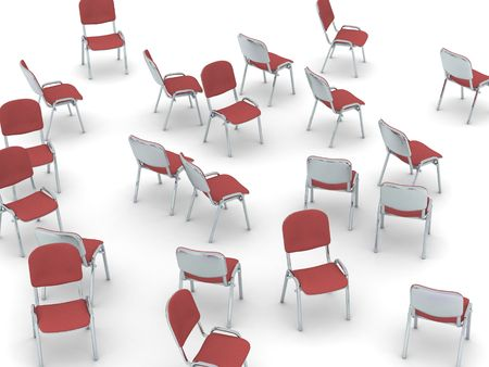 digital render of red chairs scattered on white ground
