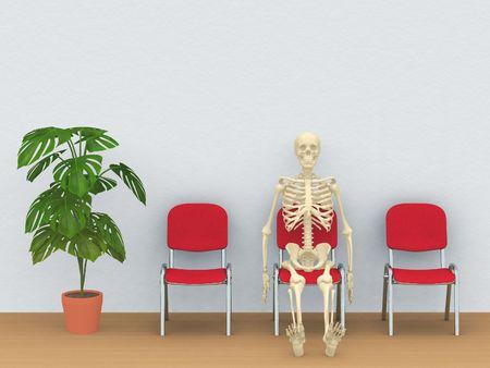 digital render of a skeleton sitting in a waiting room photo