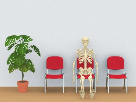 digital render of a skeleton sitting in a waiting room