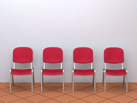 digital render of four red chairs in a row