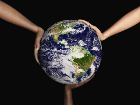 Digital render of Earth being held by three hands with different skin colors