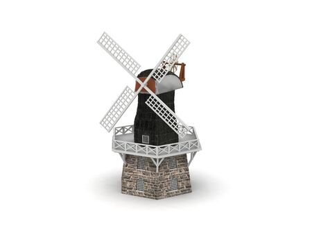 digital render of a windmill model isolated on white Stock Photo