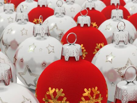 digital render of christmas balls with depth of field