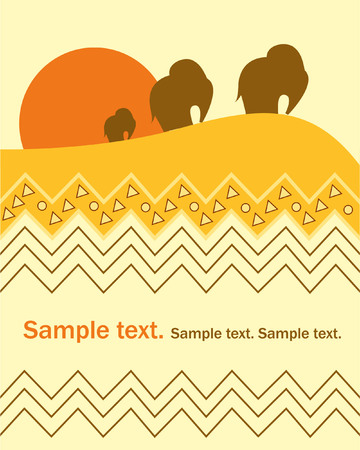Card with elephant Vector