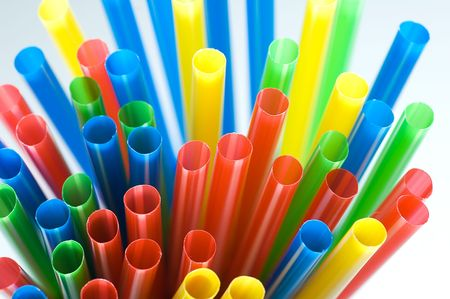 Abstract colorful background. Close-up of straw tubes  photo